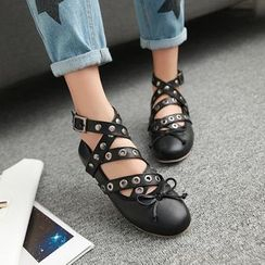 JY Shoes - Cross Strap Flats