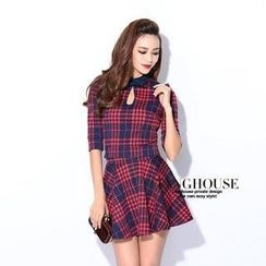 Tang House - Set: Elbow-Sleeve Cutout-Detail Plaid Top + Pleated A-Line Skirt