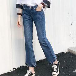 PopCult - Fray Hem Boot Cut Jeans