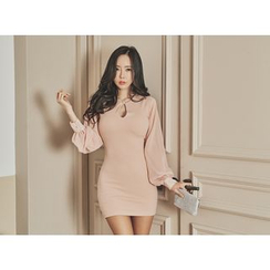 UUZONE - Key-Hole Front Puff-Sleeve Bodycon Dress