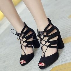 Monde - 粗跟繫帶高跟鞋