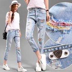 Quintess - Distressed Cropped Boyfriend Jeans