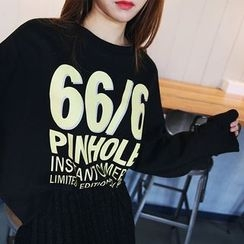 DABAGIRL - Button-Cuff Lettering Pullover