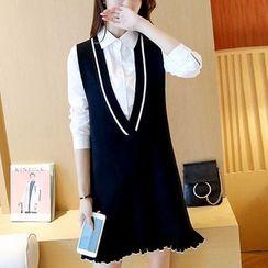 Shomez - Ruffle Hem V-Neck Knitted Pinafore Dress
