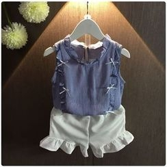 Rakkaus - Kids Set: Frilled-Trim Paneled Top + Shorts