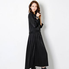 FASHION DIVA - Shirred-Waist Satin Long Dress