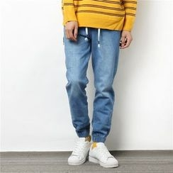 Mr.C studio - Elastic Cuff Straight-Cut Jeans