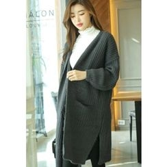 REDOPIN - Open-Front Long Knit Cardigan