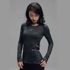 Sylphlike Loli - Mesh Panel Sport Long-Sleeve T-Shirt