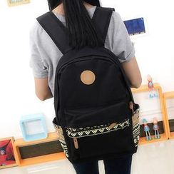 Bag Hub - Ethnic Print Canvas Backpack