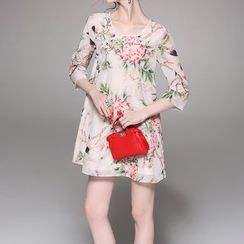 Alaroo - Floral Print 3/4-Sleeve A-line Dress