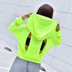 Quinos - Cut Out Back Cropped Hoodie