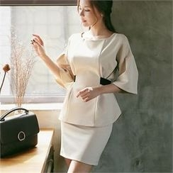 CHICLINE - Elbow-Sleeve Ribbon-Accent Blouse