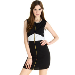 YesStyle Z - Two-Tone Zip-Front Dress