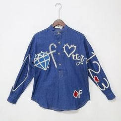 Mr. Cai - Long-Sleeve Applique Shirt