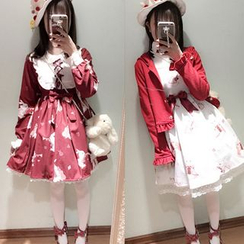 Cosgirl - Rabbit Print Long Sleeve Lolita Dress