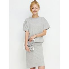 BBAEBBAE - Set: Cotton T-Shirt +Skirt