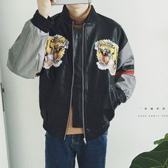 qiaqiayes - Faux Leather Baseball Jacket