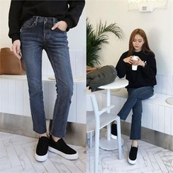 QNIGIRLS - Fray-Hem Straight-Cut Jeans