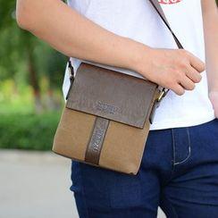 Golden Kelly - Genuine-Leather Trim Canvas Shoulder Bag