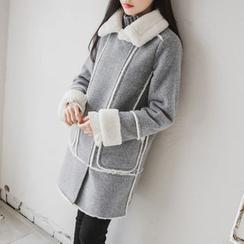 JUSTONE - Diagonal-Zip Faux-Fur Lined Coat