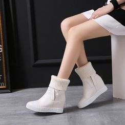 Pretty in Boots - Genuine Leather Knit Panel Short Boots