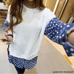REDOPIN - Polka Dot Sleeve Pullover