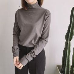 ByPeggie - Plain Turtleneck Long Sleeve Top
