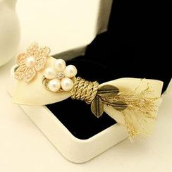 Suu - Faux Pearl Bow Alligator Hair Clip / French Barrette Hair Clip / Hair Tie