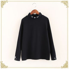 Fairyland - Embroidered Turtleneck Long-Sleeve T-Shirt