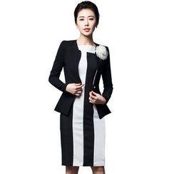 Aision - Single-Button Blazer / Sleeveless Striped Dress