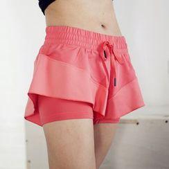 GYM QUEEN - Drawstring Waist Sports Shorts