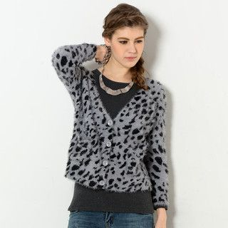 59 Seconds - Leopard Print Furry Cardigan