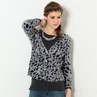 YesStyle Z - Leopard Print Furry Cardigan