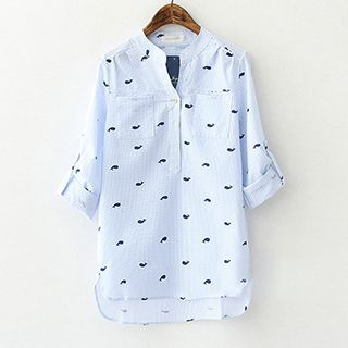ninna nanna - Whale Printed Stand-collar Blouse