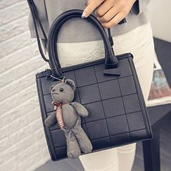 Youme - Bear Accent Faux Leather Handbag