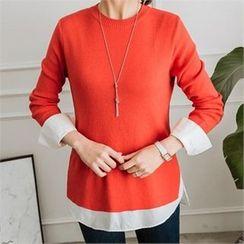 JOAMOM - Color-Block Plain Knit Top