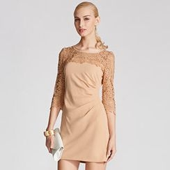 O.SA - Lace-Panel Pleated Sheath Dress