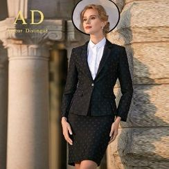 Aision - Set: Dotted Blazer + Pencil Skirt