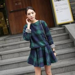 midnightCOCO - Set: Round-Neck Top + A-Line Skirt