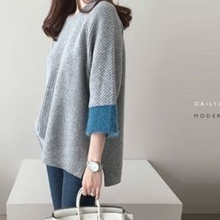 DAILY LOOK - 3/4-Sleeve Contras-Trim Wool Blend Knit Top