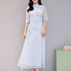 茜珞萊 - 印花七分袖雪紡旗袍