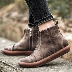 MIAOLV - Zip Front Ankle Boots