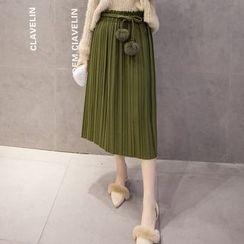 IndiGirl - Plain Pleated Midi Skirt