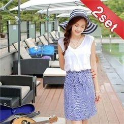 Styleberry - Set: Open-Placket Sleeveless Top + Bow-Front Patterned Skirt