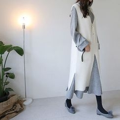 Hello sweety - Faux-Pearl Buttoned Wool Blend Long Vest