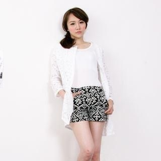 D.P-Shop - Open-Front Long Lace Jacket