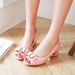Pastel Pairs - Bow Block Heel Peep-Toe Pumps