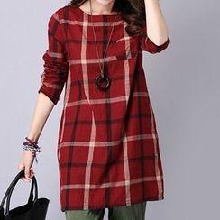 Emeline - Long-Sleeve Check Linen Dress