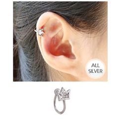 Miss21 Korea - Crown Silver Ear Cuff (Single)